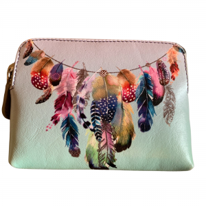 leather feathers rfid coin purse